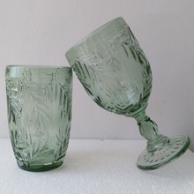 The Unique Design Leaves Patterned Green Glass Cup