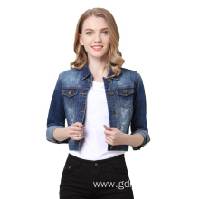 Chic Flower Crane Embroidery Loose Women Denim Jacket