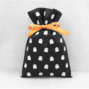 Halloween Ghost Black Non-woven Drawstring Gift Packing Bags