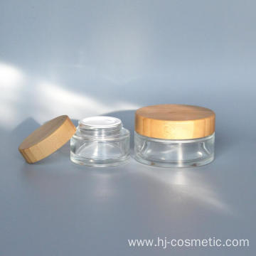 50g glass cosmetic jars with bamboo lid  Environmental bamboo cosmetic bottles/jars