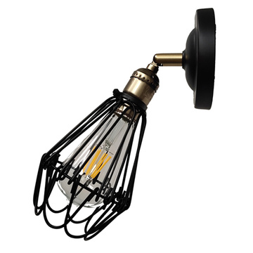 Vintage Metal Cage Shade E27 Wall Lamp