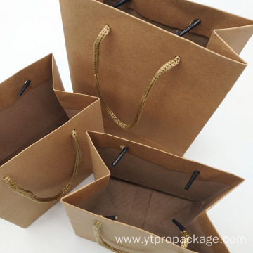 Brown Kraft With Handle Custom Logo Paper Bag