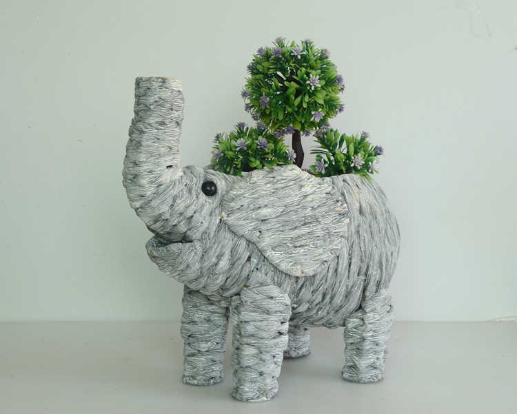 wash white water hyacinth elephant decoration pot-3
