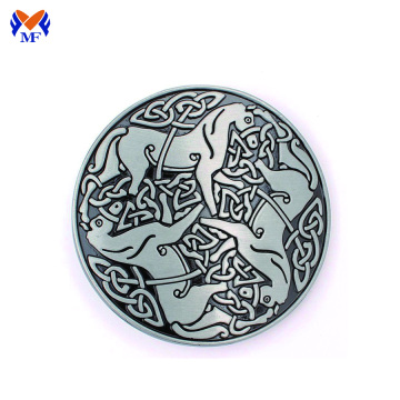Round shape metal buckle with 3D logo