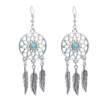 Dream Catcher Pendant Earrings Alloy Feather Dangle Earrings