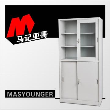 up glass door down metal door cupboard