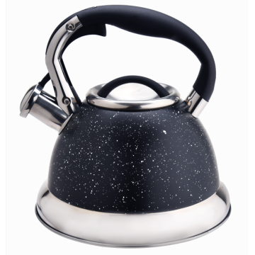 Black marble whistling coffee teapot kettle