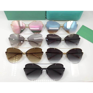 Semi Rimless Butterfly Sunglasses For Women