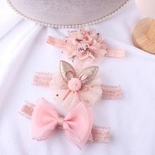 3Pcs/Set Baby Girl Headbands Ribbon Elastic Hair Bands Headdress Kids Hairband Lace Bow Flower Baby Headband Hair Accessories