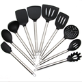 Silicone kitchen tools with stainless steel handle