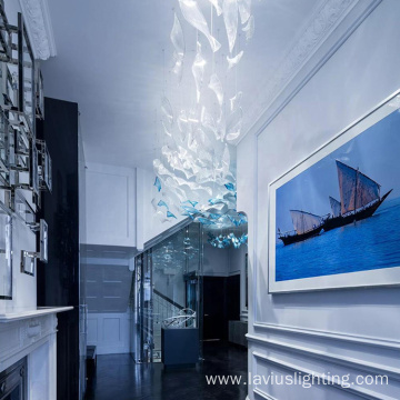 Modern blue wavy chandelier pendant light for home