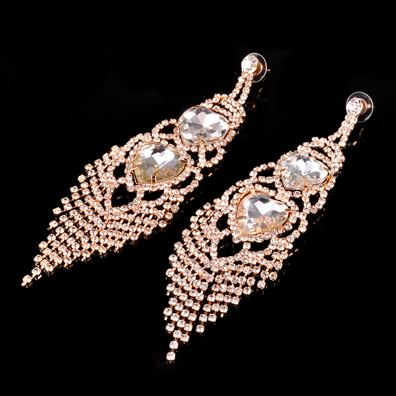 Leaf Heart Rhinestone Fashion Dangle Earrings