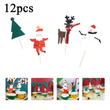 12pcs Merry Christmas Cake Topper Cartoon Santa Claus Elk Snow Man Xmas Tree Paper Cupcake Toppers Cake Decorative Topper Picks