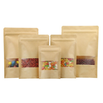 resealable brown kraft packaging zipper bags with window