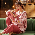 Womens Cute Long-sleeved Cotton Nightwear Pajamas Set