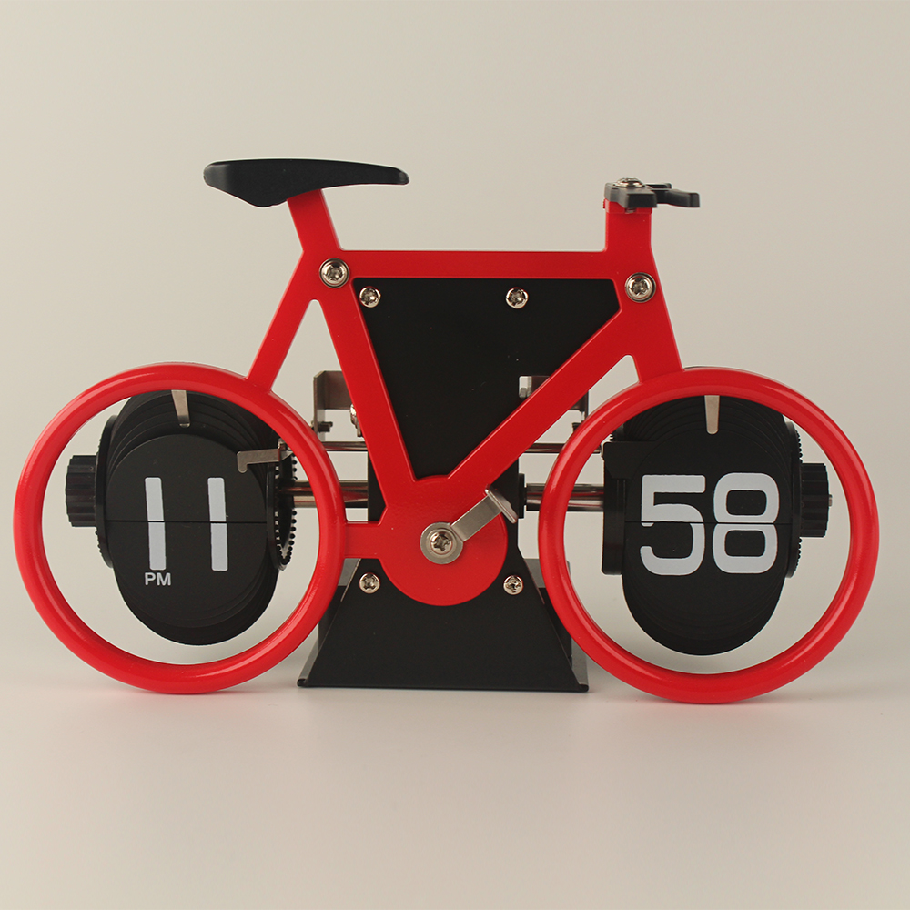 Red Bicycle Flip Clock For Decor