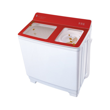 Red Transparent Glass Cover 10KG Capacity Twin Tub Washing Machine