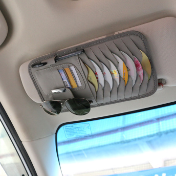 Car Sun Visor Leather Auto Car Sunshade Sun Visor CD Card Glasses Holder Organizer Bag Cars Kit Gadget Vehicle Parts