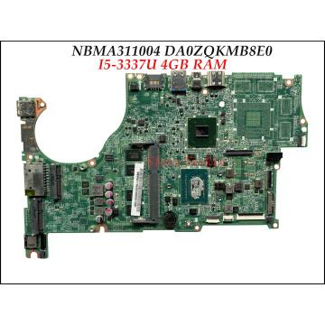 High quality NBMA311004 for Acer Aspire V5-572P Laptop Motherboard DA0ZQKMB8E0 SR0XL I5-3337U 4GB RAM 100% Tested