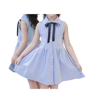 Girls Stylish Bowknot Collar Cotton Dress