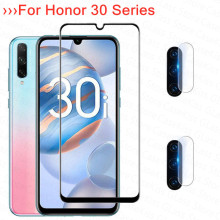 3-in-1 Tempered Glass for Huawei Honor 30i 30 30s Screen Protector Full Cover Front+Camera Protective Glass for honor 30 30s 30i
