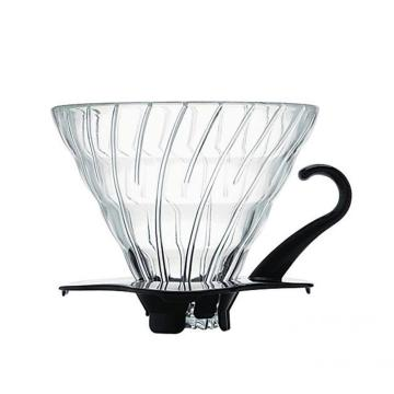 Coffeeware Glass Coffee Dripper with Black Plastic Base