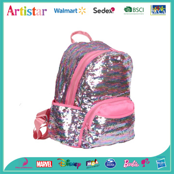 pink and sliver sequins backpack