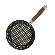 BBQ Grill Pan With Detachable Wood Handle