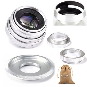 Silver Mini 35mm f/1.6 APS-C CCTV Lens+adapter ring+2 Macro Ring+lens hood for SONY NEX E-Mount Mirroless Camera