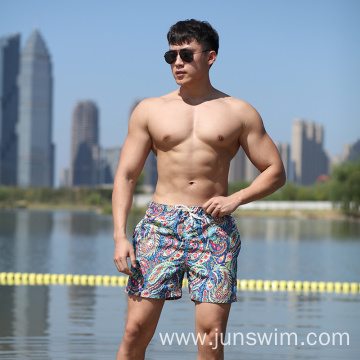 100%Polyester Print Full Elastic Waistband Swimming Short