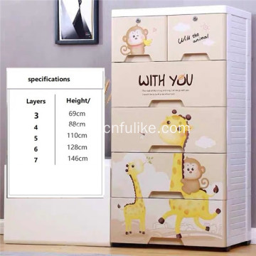 Plastic Drawer Storage Cartoon Cabinet Stackable Wardrobe