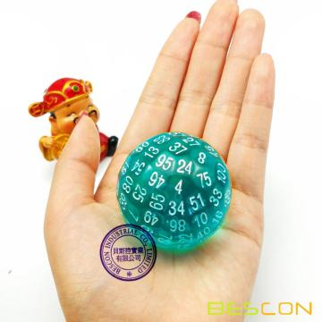 Bescon Translucent Polyhedral Dice 100 Sides Dice, Transparent D100 die, 100 Sided Cube, D100 Game Dice,100-Sided Cube of Teal