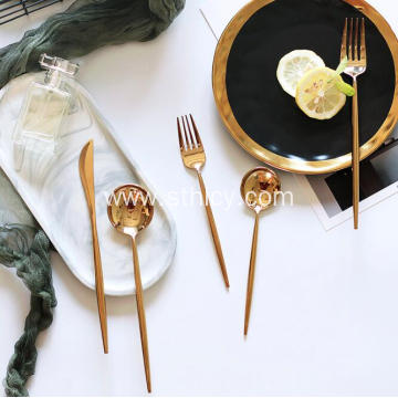 Shiny Mirror 304 Gold Stainless Steel Flatware Set