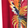 Big Feather Design Rayon Print With Half Loulou