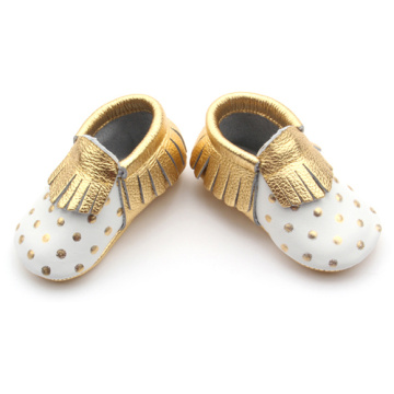 Gold Breathable Leather Baby Moccasins Tassel Shoes