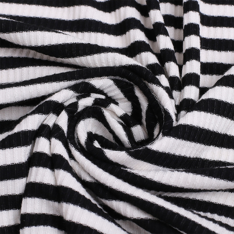 Zebra Stripes Rib Knitted Fabrics For Children Garments