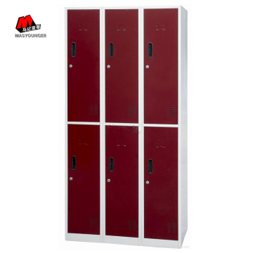 Red Six Door Metal Locker