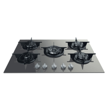 Italy Gas Hobs 5 Ring on Glass Top