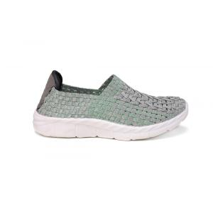 Silver Green Cross Woven Hollow Work Shoes
