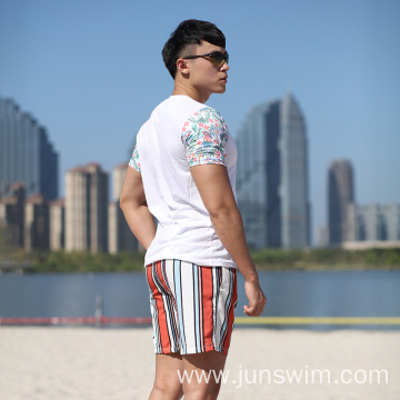 Stripe Brief Mesh Lining Swimming Short