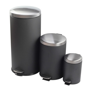 Round Metal Step Trash Can Wastebasket for Home