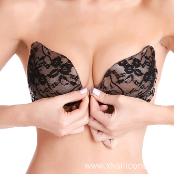 Girls wing backless silicone adhesive lace bra