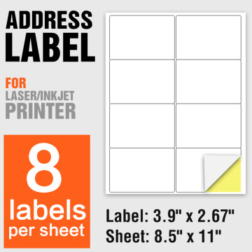 Printable A4 blank labels paper 8 per sheet