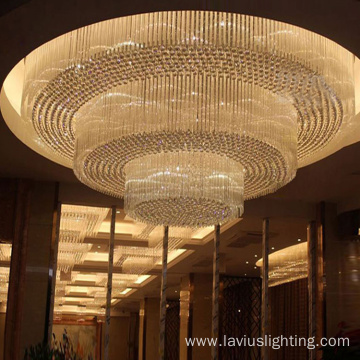 Hotel hall ceiling light crystal gold chandelier lamp