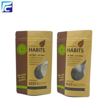 Resealable Food Packaging Kraft Paper Bag