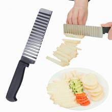Stainless Steel Potato Chip Slicer Dough Vegetable Fruit Wrinkle Wave Potato Cutter Knife Potato Shredder Vegetable Cutter