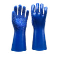 Blue Single Dipped PVC.Rubber Dots Anti-Slip PVC Glove