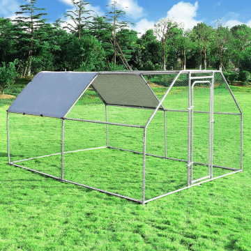GIBBON DIY Metal Chicken Run with Waterproof Cover, Garden Backyard Pet House