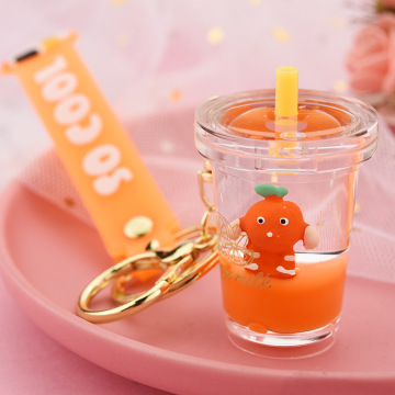 Fruit Milk Tea Liquid Keychain