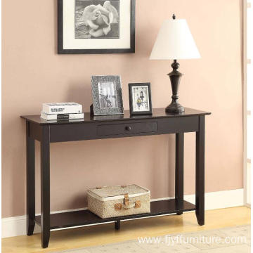 Narrow Black Shallow Console Table with Drawers